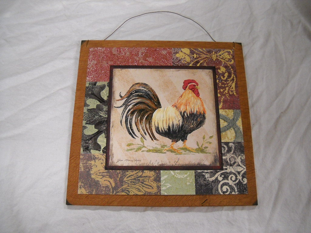 Country Rooster Kitchen Wooden Wall Art By