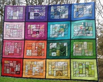 ON SALE Bottled Rainbow scrap ticker tape quilt - 80''x65'' - modern and vintage cotton - I spy - Cascade Quilts