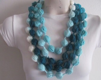 Puff Stitch Bubble Scarf Necklace In Turquoise Tones
