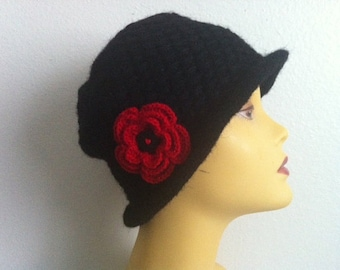 Black Cloche Hat With Red Flower