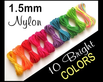 1.5mm Nylon Cording - Set of 10 Bright Colors - 1.5mm Nylon Bead Cord - Great For Bracelets, Pendants, etc