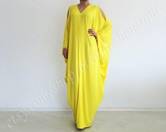 kaftan summer dress RIVIERA Plus Size  yellow maxi multi way convertible off-shoulder asymmetric maxi tunic dress  beach  fashion plus size