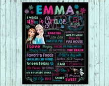 Birthday Chalkboard Sign,  Frozen birthday chalkboard - Frozen birthday poster - Frozen DIGITAL sign - Frozen birthday sign