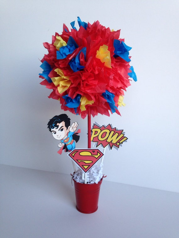 Superman super hero birthday party decoration by for Decoration chambre super heros