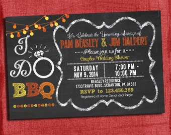 I Do BBQ Fall Autumn Style  Couples/Coed Wedding Shower Invitation- I Design, You Print