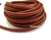 Cotton Wax Cord 1 Yard 5mm x 4mm - Red Brown Round Round Oval Cotton Wax Cords