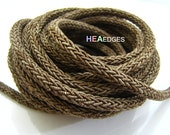 Braided Trim Rope Cord 1 Yard 6mm - Antique Brown Striped String Round Cord