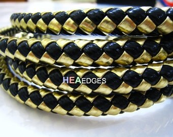 Round Braided Leather Like Cord Metallic Gold and Black 1 Yard  of 10mm