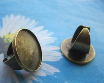 20pc 18mm adjustable antiqued bronze Cuff round ring blank base 25mm round base