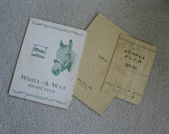 2 Vintage menus  retro menus     Route 66 menu 1946 Thomas dinner house and evening menus for the rumpus room  Whirl a way night club menu