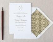 Formal Wedding Invitation. Formal Script in Antique Gold Foil or Letterpress Wedding Stationery. Classic Wedding Invite for Formal Weddings.