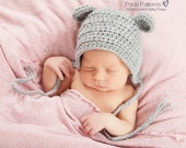 Crochet PATTERN - Crochet Bonnet Pattern - Pixie Hat - Baby Mouse Bonnet - Crochet Patterns for Babies - 6 Sizes Newborn to Adult - PDF 374