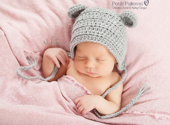 Crochet PATTERN - Crochet Bonnet Pattern - Pixie Hat - Baby Mouse Bonnet - Crochet Patterns for Babies - 6 Sizes Newborn to Adult - PDF 374