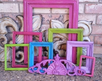 Eclectic Home Decor Vintage Frames, Pink and Purple, Lime, Blue Painted Frames, Upcycled Frames,