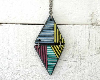 Long Triangle Pendant Geometric Necklace Colorblocking wood Necklace
