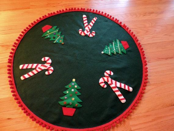 RESERVED FOR CeCe      Green Felt Christmas Tree Skirt