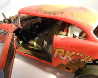 Scale Model Car Chevy Orange by Classicwrecks