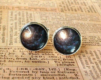 20% OFF -- 16 mm Black and cream color Cosmos Galaxy Cuff Links ,Mens Accessories, Anchor Cufflinks,Perfect Gift Idea