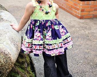 Viola's Cotton Ruffled Top & Sun Dress PDF Pattern Sizes 6/12m to 8 girls