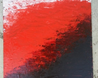 "SALE OOAK Acrylic painting ""The darkness that is"" abstract red black white"