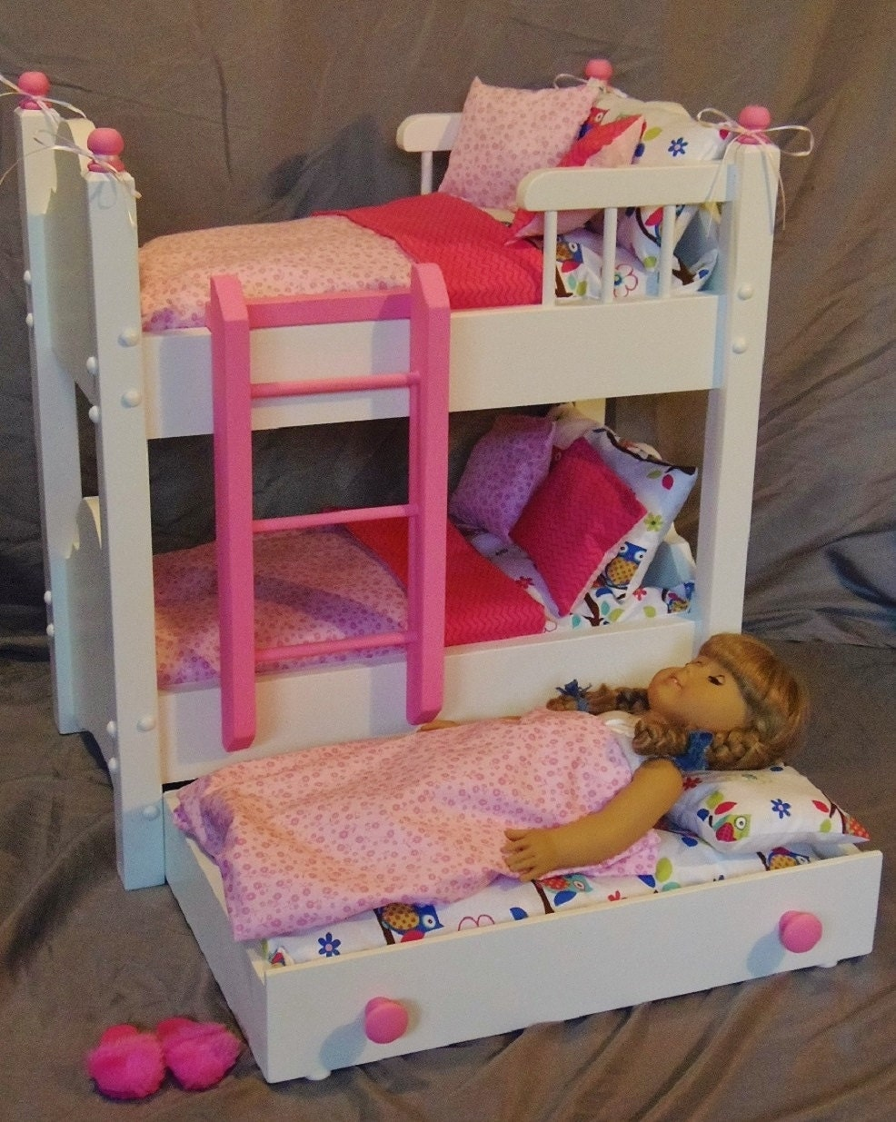 doll bunk bed with trundle bed fits american girl doll and 18. Black Bedroom Furniture Sets. Home Design Ideas