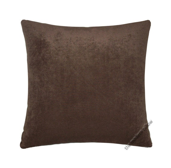 Throw Pillows Brown : Chocolate Brown Velvet Solid Decorative Throw Pillow Cover