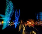 "Night Landscape, abstract birds taking flight, photograph matted 16x20 - ""Taking Flight"""