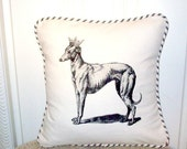 "shabby chic, feed sack, french country, vintage greyhound with french ticking  welting 14"" x 14"" pillow sham."