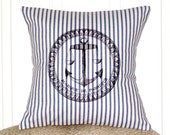 "shabby chic, feed sack, french country, French Anchor 14"" x 14"" pillow sham."