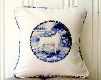 """shabby chic, feed sack, french country, delft Bull Terrier graphic with toile welting 14"""" x 14"""" pillow sham."""
