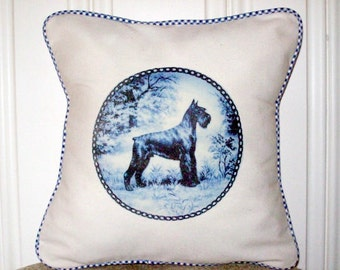 """shabby chic, feed sack, french country, delft Schnauzer graphic with gingham welting 14"""" x 14"""" pillow sham."""