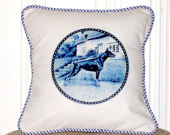 "shabby chic, feed sack, french country, Doberman graphic with gingham welting 14"" x 14"" pillow sham."