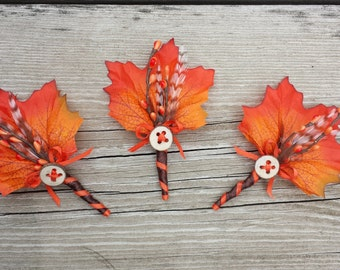 Fall Wedding Boutonniere - Harvest Maple
