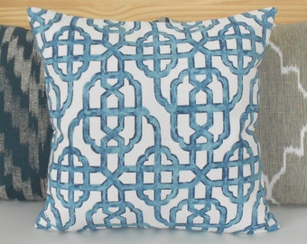 Both sides, Navy blue trellis decorative pillow cover, imperial lattice pillow