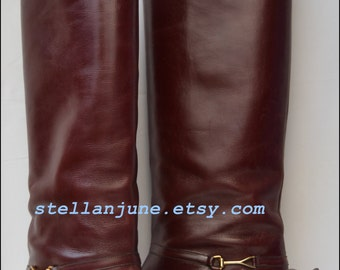 Vintage Cole Haan Leather Equestrian Riding Boots Beautiful Style 8M Beautiful Burgundy Oxblood Leather Distressed