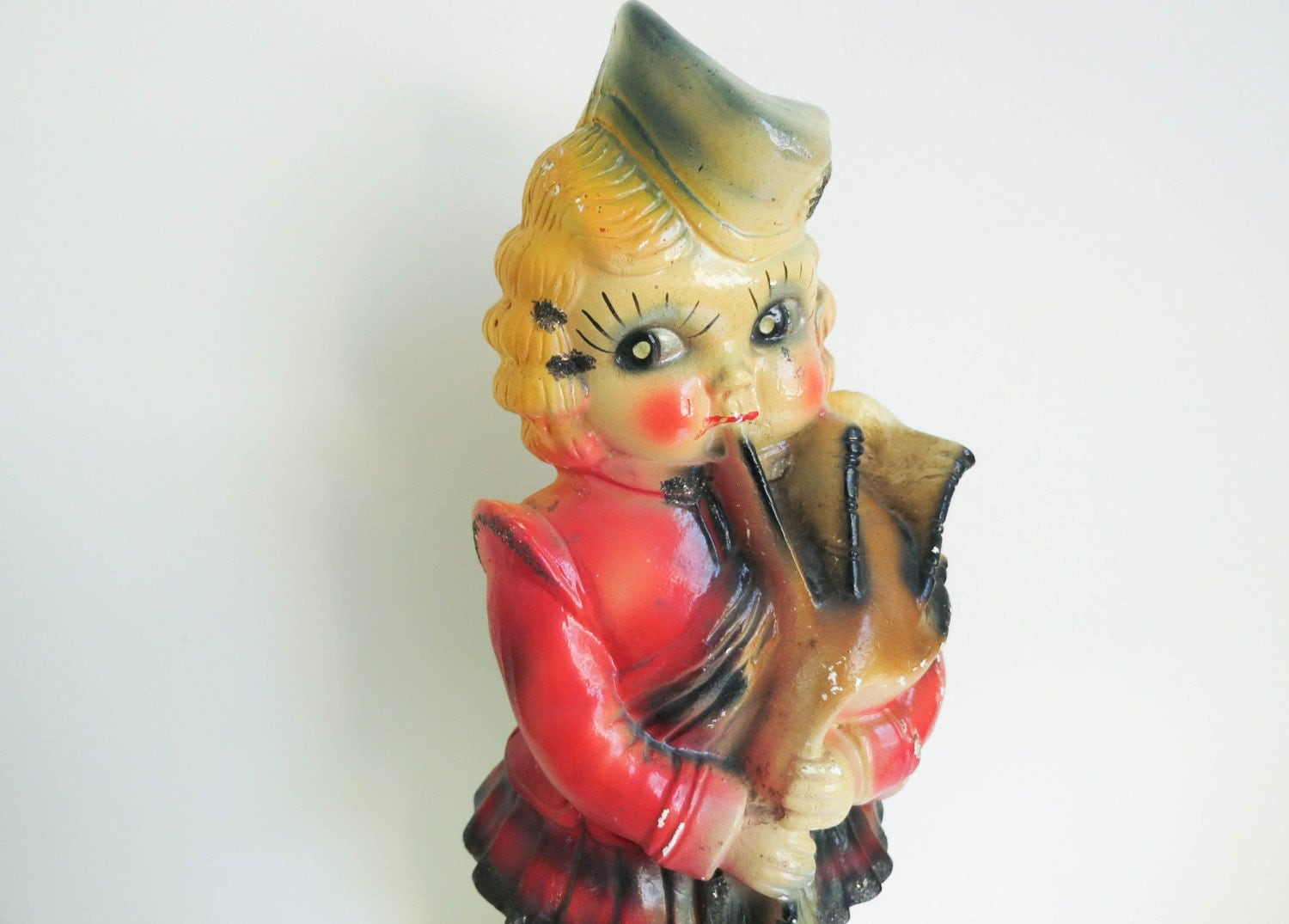 Vintage Carnival Chalkware Scottish Girl Playing Bagpipes