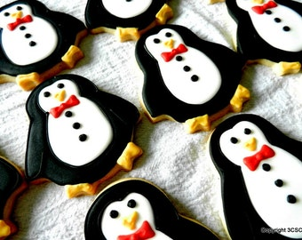 PENGUIN Christmas Cookies -Hand Decorated Sugar cookies- One Dozen