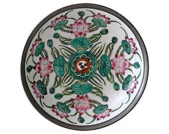 Vintage Silver Encased Porcelian Floral Dish