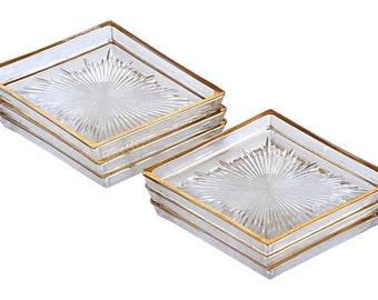 Cut Glass Diamond-Shaped Dishes, S/6