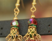 Festive Gold Plated Holiday Dangle Earrings