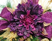 Custom for Sharon     Christmas Evergreen Winter Swag Purple/Burgundy and Gold