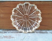 Antique Clear Glass Serving or Treasure Tray, on SALE, Vintage Shabby Chic Decor, Mid Century Ashtray, Art Glass Decor, Small Mint Bowl