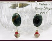 RESERVED for MS SUE T - Simple dangles agate, glass - merlot and forest green