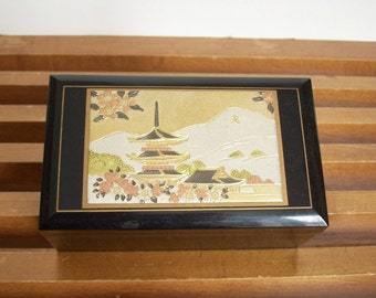 Chinoiserie Black and Gold Music Box, Jewelry Box, Vintage
