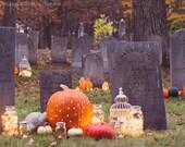 Halloween photography autumn fall spooky cemetery bokeh pumpkins mason jar dusk orange gold green fairy lights large wall art fine art photo