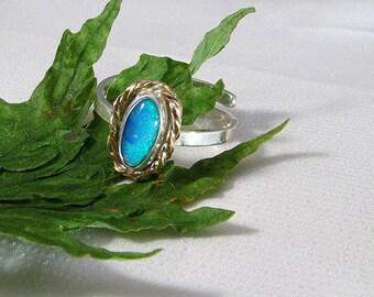 Handmade Blue Green Solid Australian Black Opal Gemstone Ring Sterling two tone adjustable size OOAK, October birthstone