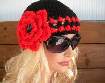 Womens Hat Crochet Hat with Flower Winter Fashion Accessories Women Beanie Cloche in Black with Red Stripes by creationsbyellyn