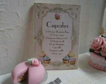 "Picture ""Recipes of cupcakes"". Dollhouse, kitchen, bakery, tea shop. 1/12th scale"