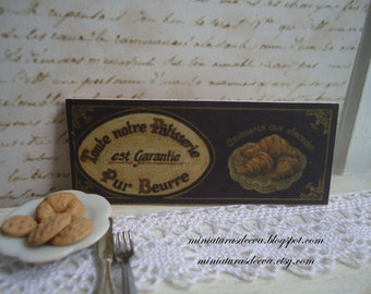 "Picture ""Pur beurre"". Sign for shop. Bakery, pastry shop, kitchen... Dollhouse.1/12th scale"