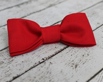 Red Hot Bow Tie Little Boy's Bow Tie or Hair Bow in Red